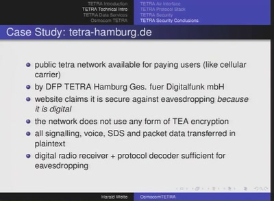 Applied Research on security of TETRA radio