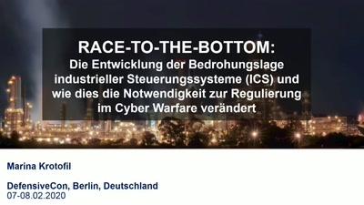 Race-to-the-bottom: Die Entwicklung der Bedrohungslage industrieller Steuerungssysteme und wie dies die Notwendigkeit zur Regulierung im Cyber Warfare verändert