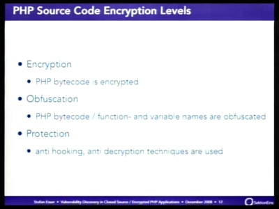 Vulnerability discovery in encrypted closed source PHP applications