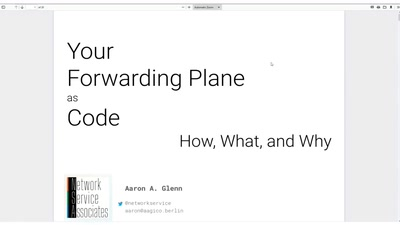 Your Forwarding Plane as Code: How, What, and Why