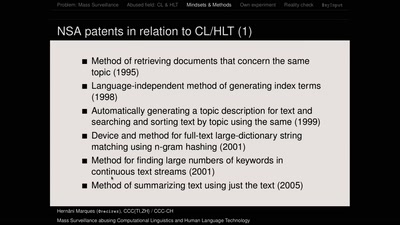 Mass Surveillance abusing Computational Linguistics and Human Language Technology