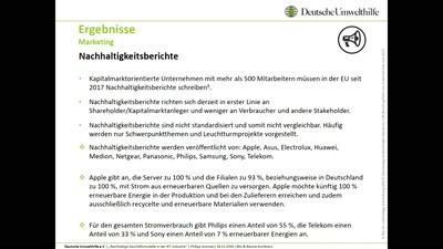 Vorstellung einer Studie der Deutschen Umwelthilfe