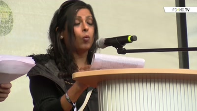 Priya Reddy, Redebeitrag auf Abschlusskundgebung der Solidarity without Borders Demontration