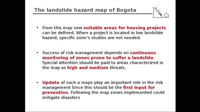The landslide map of Bogota updating