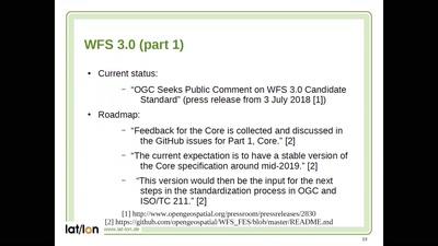 TEAM Engine – Validierung des neuen OGC-Standards WFS 3.0 und aktuelle Entwicklungen im Projekt