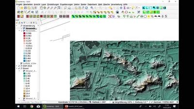 Verarbeitung von DGM-Daten und Laserscandaten mit QGIS