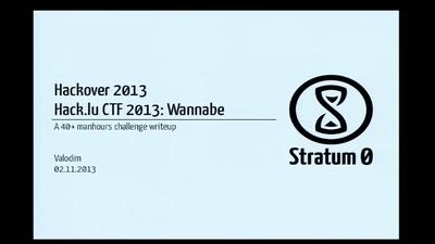 Hack.lu CTF 2013: Wannabe