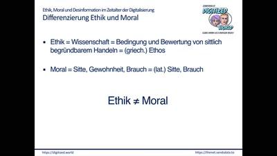 Ethik, Moral und Desinformation im Zeitalter der Digitalisierung